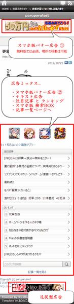 FC2スマートフォン版 での広告